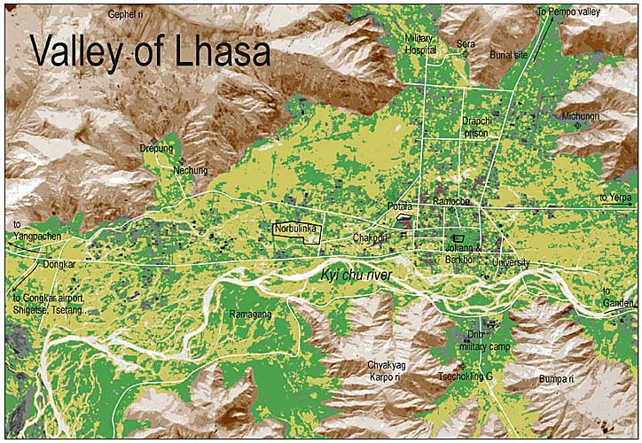 Valley of Lhasa map