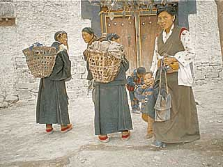 a group of women in a Shigatse street